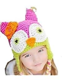 """LadyMYP©Handgemachte Strickmütze, Babymütze, Kindermütze, Hüte, 100% Wolle, Mütze """"Uhu"""" - Rosa/Grün"""