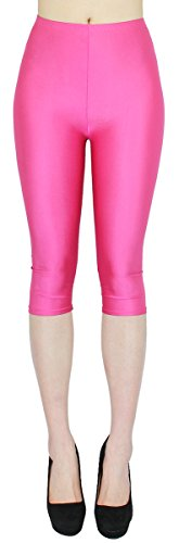 Kostüm Tanz Leggings - dy_mode Glanz Capri Leggings Damen Bunte Sommer Tanz Leggings Capri glänzende 3/4 Leggins Shiny One Size - 3LG121 (One Size, 3LG121-Pink)