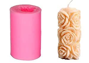 RKPM HOMES Flower Shape Cylindrical Silicone 3D Beeswax Candle Mold - Multicolour