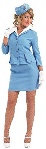 Damen Sexy rot oder blau Air Stewardess Karren Dolley Hostess Stewardess Uniform Junggesellinnenabschied Kostüm Kleid Outfit UK 8-26 Übergröße - Blau, 48-50 (Junggesellinnenabschied Kostüme Uk)