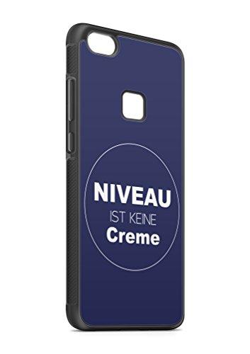 aina Kompatibel mit Huawei P10 Lite Silikon Handyhülle Flexibles Slim Case Cover Spruch Sprüche Zitat Nievau ist kein Creme Schwarz - Lite-creme