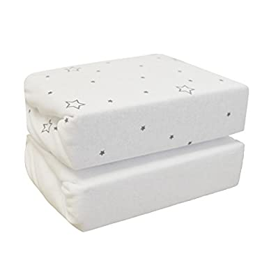 Cuddles Collection Stars on Moses Basket Sheets (White, Pack of 2) - inexpensive UK light shop.