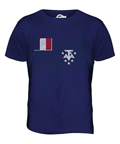 CandyMix Französische Süd- Und Antarktisgebiete Kritzelte Flagge Herren T Shirt Navy Blau