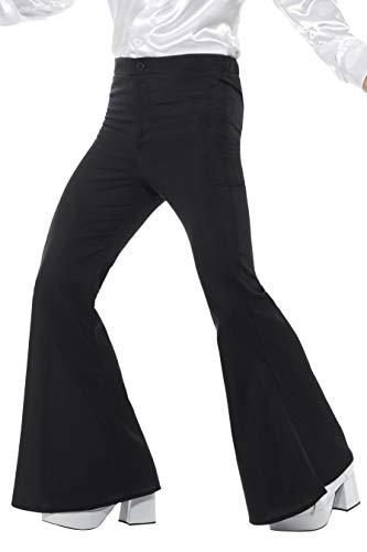 Smiffy's Smiffys-48191XL Pantalones de Campana para Hombre Color Negro XL - Tamaño 46'-48' 48191XL