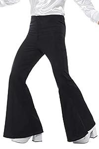 "Smiffys-48191M Pantalones de Campana para Hombre, Color Negro, M-Tamaño 38""-40"" (Smiffy"