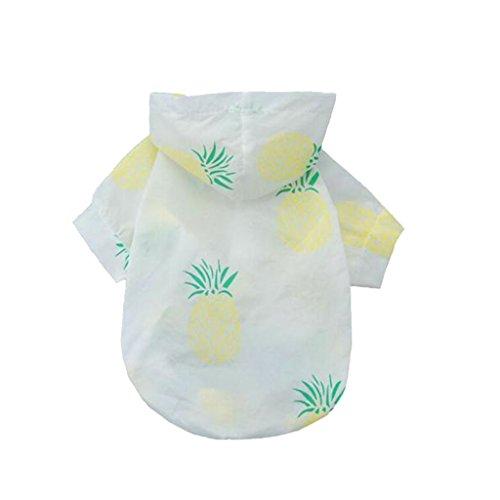MagiDeal Sonnenschutz Mantel Jacke Hoodie Bekleidung Sonnenschutzkleidung Hemd im Sommer für Hunde Katze Haustier - Ananas, M