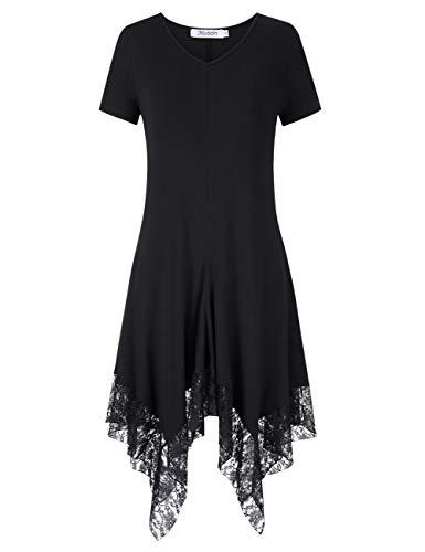 KOJOOIN Damen Plus Size Spitzen Kleider Asymmetrische Lässige Kleider Modal Oversize Casual Kleid (Für Kleid Plus Shirt Frauen Size)