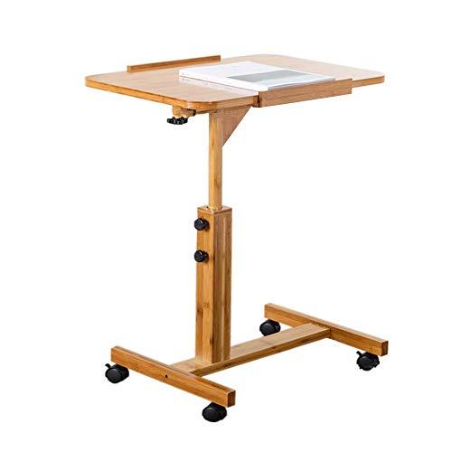 Nachttisch Couchtisch Tragbarer Klapptisch Auf Rädern fahrbarer Nachttisch Laptop-Tisch Einfacher Schreibtisch Klappteleskopbewegung Hochwertiger Klapptisch (Auf Couchtisch Rädern)