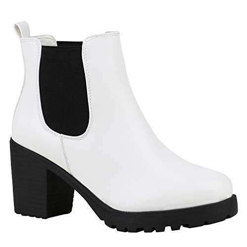 Stiefelparadies Damen Stiefeletten Chelsea Boots Profilsohle Blockabsatz Weiss Schwarz 39 Flandell