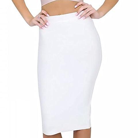 HLBandage Women High Wait Knee Length Rayon Bandage Skirt(XS,Blanc)