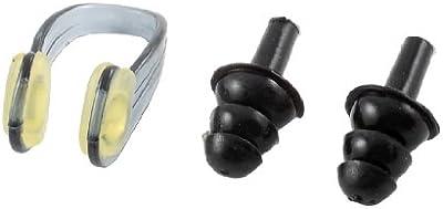 Juego de almohadillas antideslizantes Beige suave transparente juego de gris pinza de nariz para natación de silicona de color negro tapones para los oídos para natación