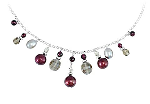 Freshwater Cultured Dyed Cranberry and Grey Pearl in Adjustable 925 Sterling Silver Necklace