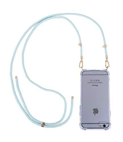 SIX Transparente Handyhülle kompatibel mit iPhone 6/6s/7/8 mit türkisen Kordeln zum umhängen (425-590) (Claire Zubehör Halloween)