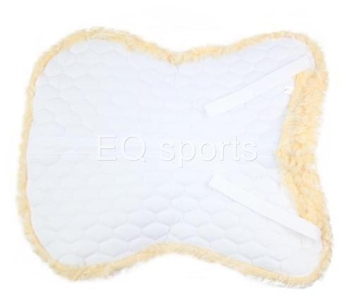 Knight Rider Half Saddle Pad Numnah Faux Sheepskin Fleece Full White 2