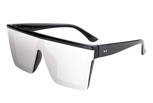 TEN-G Fashion Oversize Siamese Lens Sunglasses Women Men Succinct Style UV400 B2470 (Silver)