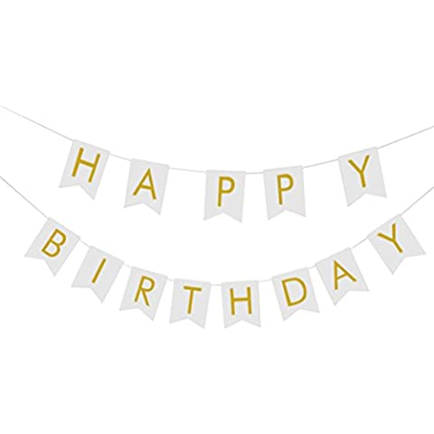 UEETEK Oro frustrado feliz cumpleaños empavesado Banner fiesta Favor colgar la guirnalda de la decoración