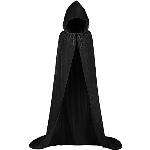 Flügel Kostüm Zum Verkauf - KONVINIT Lange Umhang mit Kapuze Erwachsener Schwarz Cape aus Samt für Weihnachten Halloween Vampir Kostüm Party