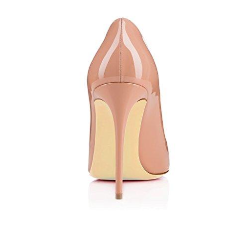 EDEFS Femmes Escarpins Classique Lady Délicats Chaussures à Talon Aiguille de 120mm Travail Bureau Taille 35-45 Beige