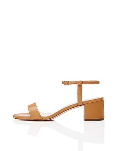 find. Block Heel Ankle Strap Peeptoe Sandalen, Braun Light Tan), 36 EU 3 Strap Sandalen