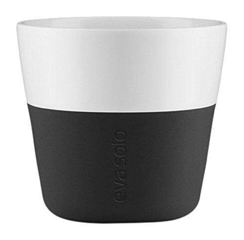EVA SOLO 501002 Lungo-Becher, 2-teilig, Silikonschale,230 ml, Porzellan, Carbon Schwarz, 8,5 x 8,5 x 8 cm
