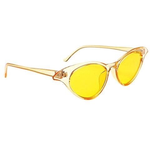 Baoblaze Damen Herren Oval Polarisiert Sonnenbrille Metallrahmen Flach Kreis Linse Brille - Gelb