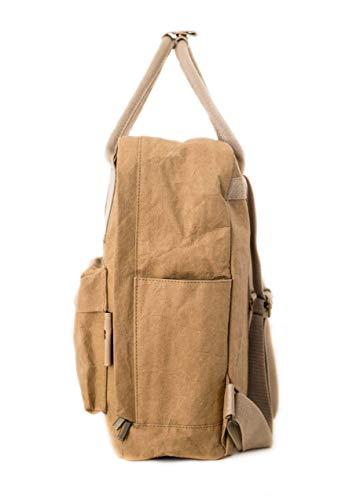 PAPERO ® aus Kraft-Papier | 2 in 1 Handtaschen Rucksack | robust, wasserfest ultraminimalistisch -Lynx- ✅ Vegan nachhaltig ♻ Damen Kleiner Backpack Platz für Laptop| FSC® Zertifiziert |, Urban Style - 2