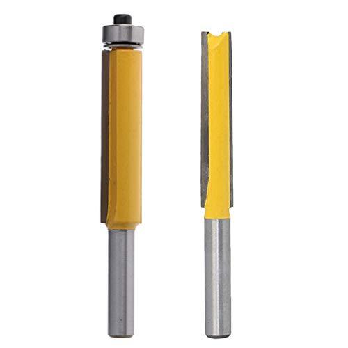 2tlg Kopierfräser/Holzfräser/Nutfräser Holzschneider Router Bit, 8mm Schaft, mit Kugellager Unten, Länger Schnittlänge