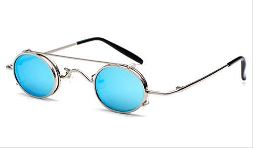 TJTYJ Mode Vintage Outdoor Driving Oval Clip Auf Metall Sonnenbrille Für Männer Und FrauenSilber W Blau