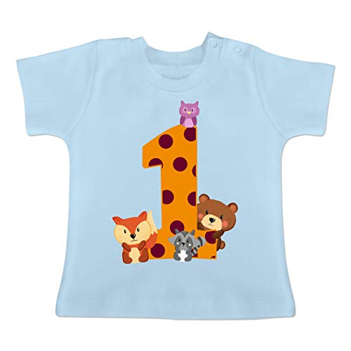 Geburtstag Baby - 1. Geburtstag Waldtiere - 6-12 Monate - Babyblau - BZ02 - Baby T-Shirt Kurzarm (Mgk-t-shirt)
