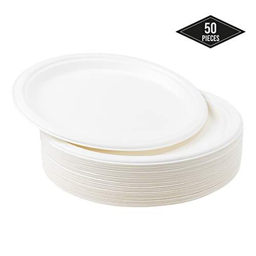 50 Platos Desechables de Papel de Caña de Azúcar, 26cm - Rigido y Resistente - Biodegradable y Ecológico...
