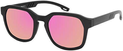 La Optica B.L.M. UV 400 CAT 3 Unisex Damen Frauen Sonnenbrille Eckig Fashion - Einzelpack Matt Schwarz (Gläser: Pink/Rosa verspiegelt)