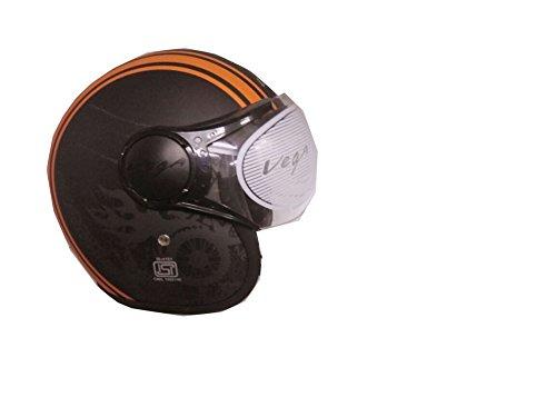 Vega Jetstar helmet (Old School Matt Black with Orange) (M - 57 - 59, Tinted Visor)