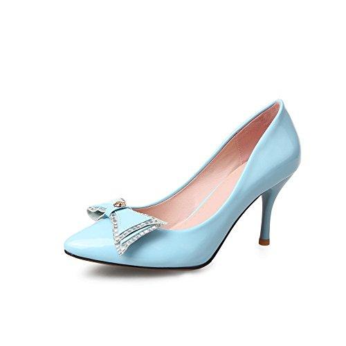 VogueZone009 Femme Pointu Tire Verni Couleur Unie Stylet Chaussures Légeres Azur