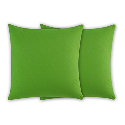 Class Home Collection 2er Pack Renforce Baumwolle Kissenbezug Kissenhülle mit Reißverschluss 80x80 cm Grün -