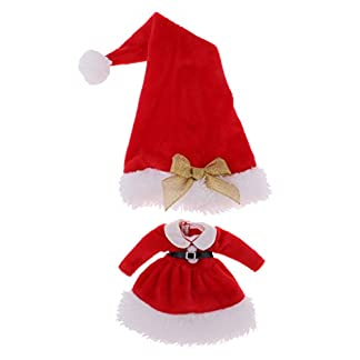 Ropa de Navidad con Sombrero de Papá Noel para 12 Pulgadas Muñecas