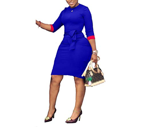 Energy Womens Crew-Neck Belted Hit Color 3/4 Sleeve Style Bodycon Dress Blue XL Black 3/4 Sleeve Belted