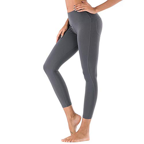 AFfeco Solid Yoga Pants Damen Push Up Running Fitness Leggings Hosen (Grau 2XL)