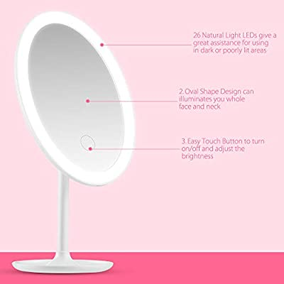 BEAUTURAL Make-up-Spiegel Kompaktspiegel 3 Levels Helligkeit einstellbar 360 Grad Swivel Schminkspiegel Touch-Taste USB Wiederaufladbare Tragbare Reise Rasierspiegel