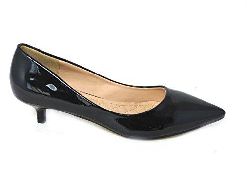 Femme Mesdames Chaton Talon Escarpin Mary Jane Bureau Soirée Travail Dolly Sangle antidérapante sur cour Chaussures Taille Black (7139-1)