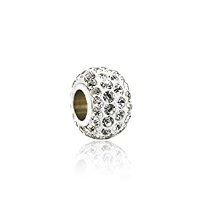 LINSUNG passend für Pandora Armbänder 10pcs Charms Kristallperlen White