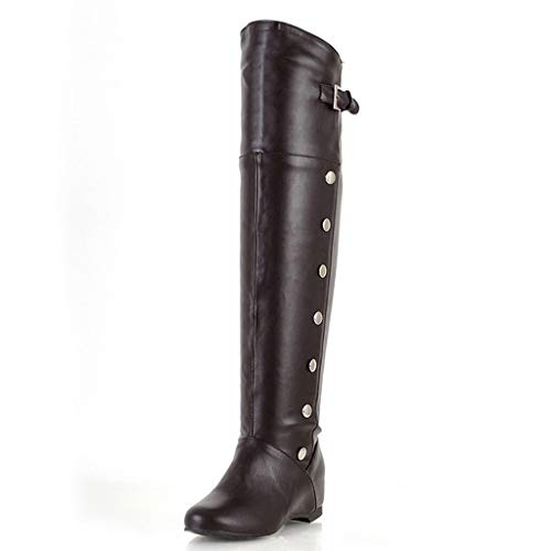 Damen Lange Tube Knight Boots Retro Over Knee Erhöhte Wedges Schuhe High Top Chunky Heel Vintage Western Boots