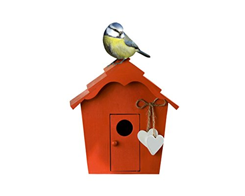 Unbekannt Vintage Vogelhaus mit Herzen Holz, Garten, Vogelhaus, Vogelfutterhaus, Geschenk (Rot)