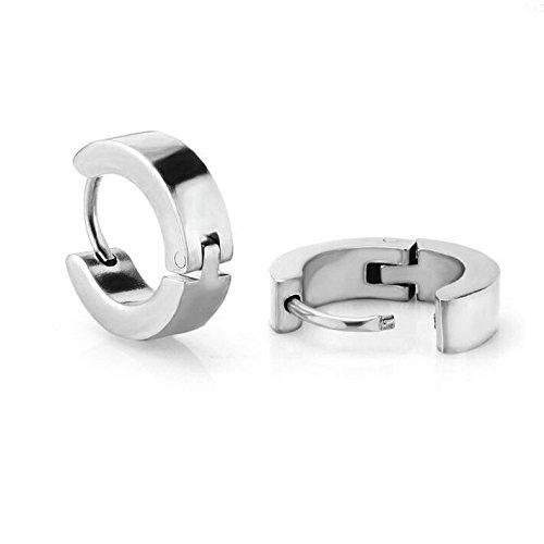 Oyshome 1 Pair Men Women Silver Stainless Steel Ear Hoop Stud Earrings Huggie