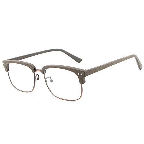 LPLHJD Sunglasses Brillengestell Holz Vintage Unisex Männer und Frauen handgefertigte Platte Holzmaserung flache Gläser Rahmen (Color : Cpffee, Size : Kostenlos)