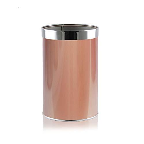 GYZS Coverless Edelstahl Druckring Runde Papierkorb Mode Kreative Home Hotel Büro Badezimmer Wohnzimmer (Farbe : Pink)