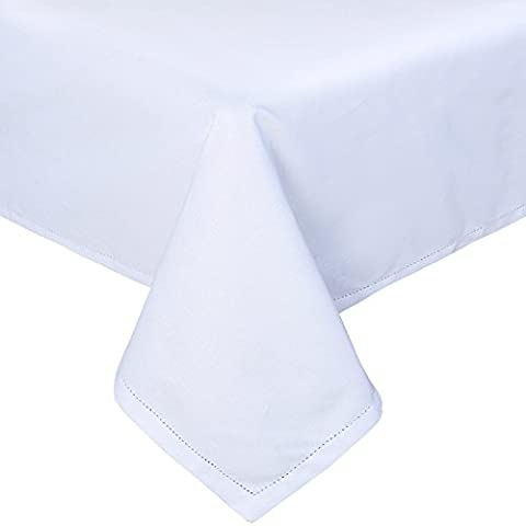 Homescapes White Cotton Tablecloth 4 to 6 Seater Rectangular 137