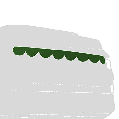 Universal LKW Truck Gardinenkante 230x20cm Innenausstattung Grün/Weiß, Vorhang Gardine Frontscheibenborde
