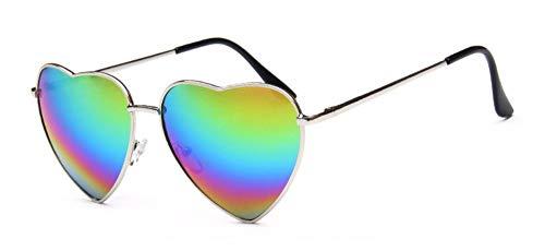 WSKPE Sonnenbrille Herz Sonnenbrille Elastizität Bein Metall Sonnenbrille Uv400 Silber Rahmen Rainbow Linse