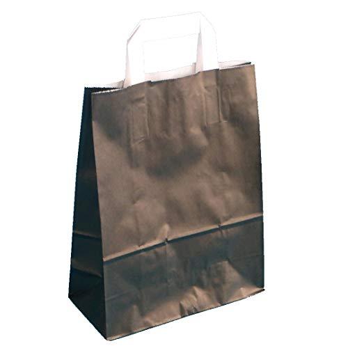 250 Sacs en Papier sacs papier Sacs cadeaux sacs papier noir avec flachhenkel Blanc 32 + 12 x 40 cm 80 g/m²