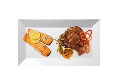 350.969-2er Set Gourmet Platte, Dessertplatte, Servierplatte, Vorspeiseplatte, 33 x 18 cm, echtes Hartporzellan, weiß, EAK3133